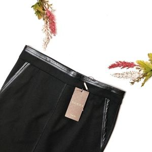 Gucci - Black Leather Trim Mini-Skirt
